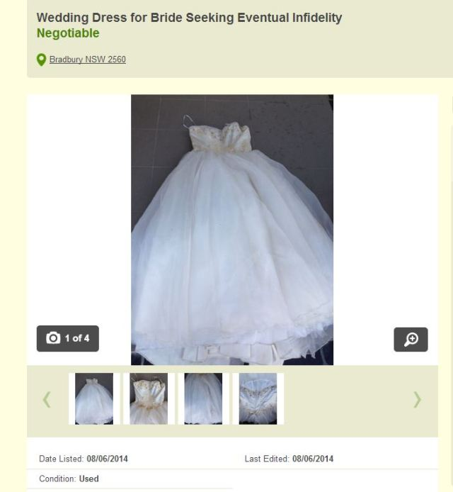 Hilarious Gumtree ad sells cheating wife's wedding dress (Picture: Gumtree)
