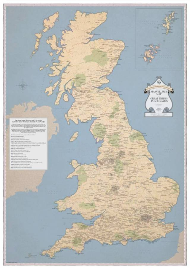 """MUST CREDIT ..ARTICLE MUST INLCUDE HYPERLINK:..http://www.stghq.com/..A wall map featuring just about every rude and silly place name in the country was launched this week - the perfect Christmas stocking filler for the immature among us...The Marvellous Map of Great British Place Names (£22; published by Strumpshaw, Tincleton & Giggleswick; www.stghq.com) claims to be the first of its kind and features 1,400 locations - including 136 """"bottoms""""."""