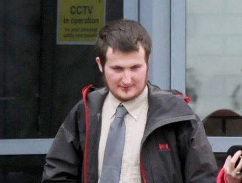 """Picture shows David Helens, leaving South Tyneside Magistrates Court. See SWNS copy SWXBOX : A man who was playing the computer game Grand Theft Auto got 'confused' - and rang 999 to report a SHOOTING, a court heard.  Dopey David Helens, 25, made the frantic call after a long session of the popular guns and gangster franchise. He told a call handler that pal 'Max' had suffered a gunshot wound to the chest and was """"slipping in and out of consciousness"""".   Helens said he was bleeding badly before telling her he thought he was dead."""